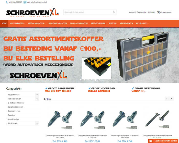 Homepage met responsive slider