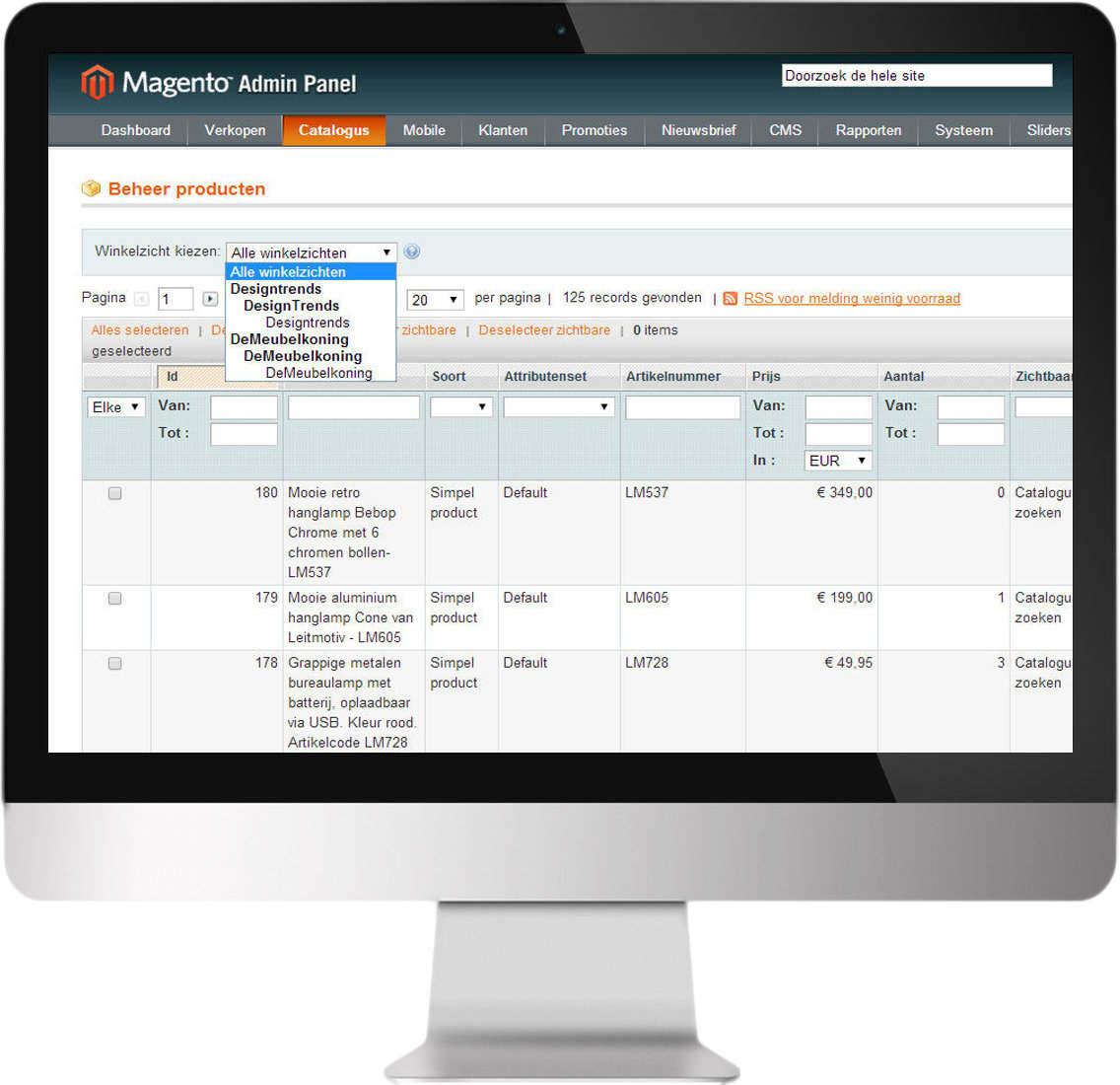 Magento beheeromgeving met Multistore