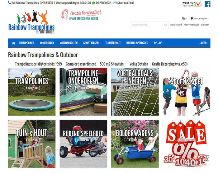 Rainbowtrampolines magento webshop voorbeeld