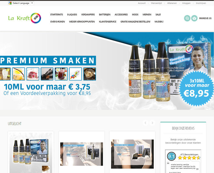 Responsive webshop in e-sigaretten
