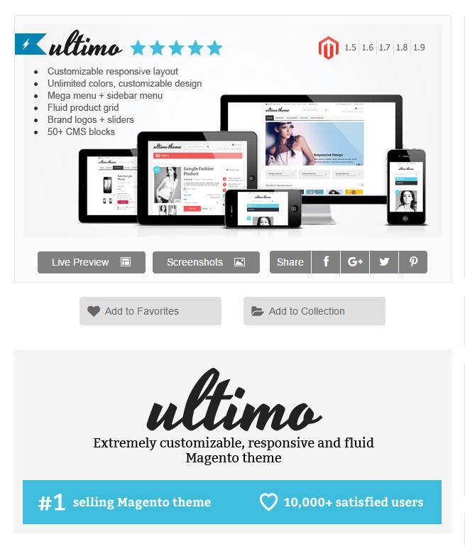 Responsive templatte Ultimo voor Magento webshops