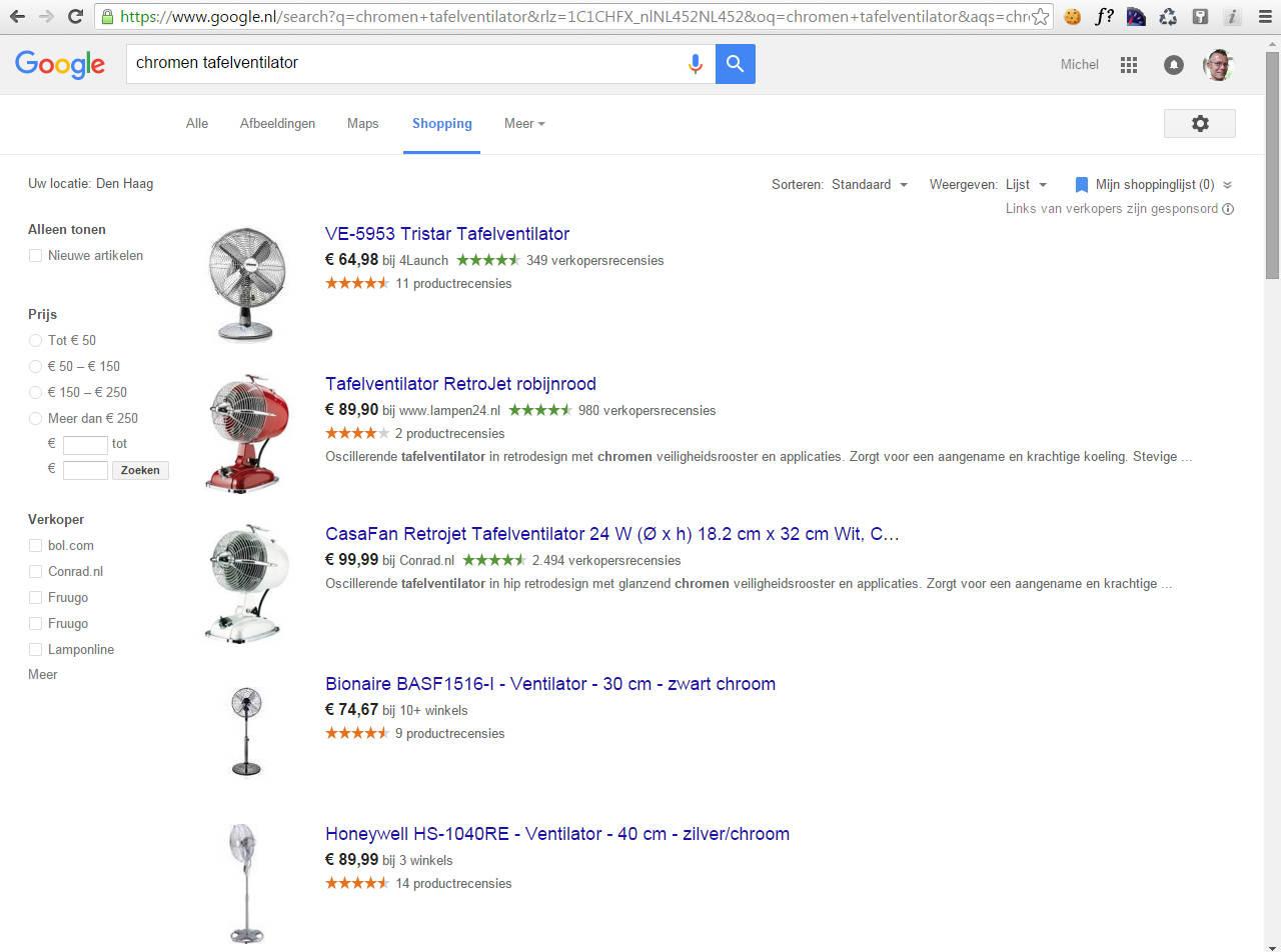 Google shopping zoekfunctie