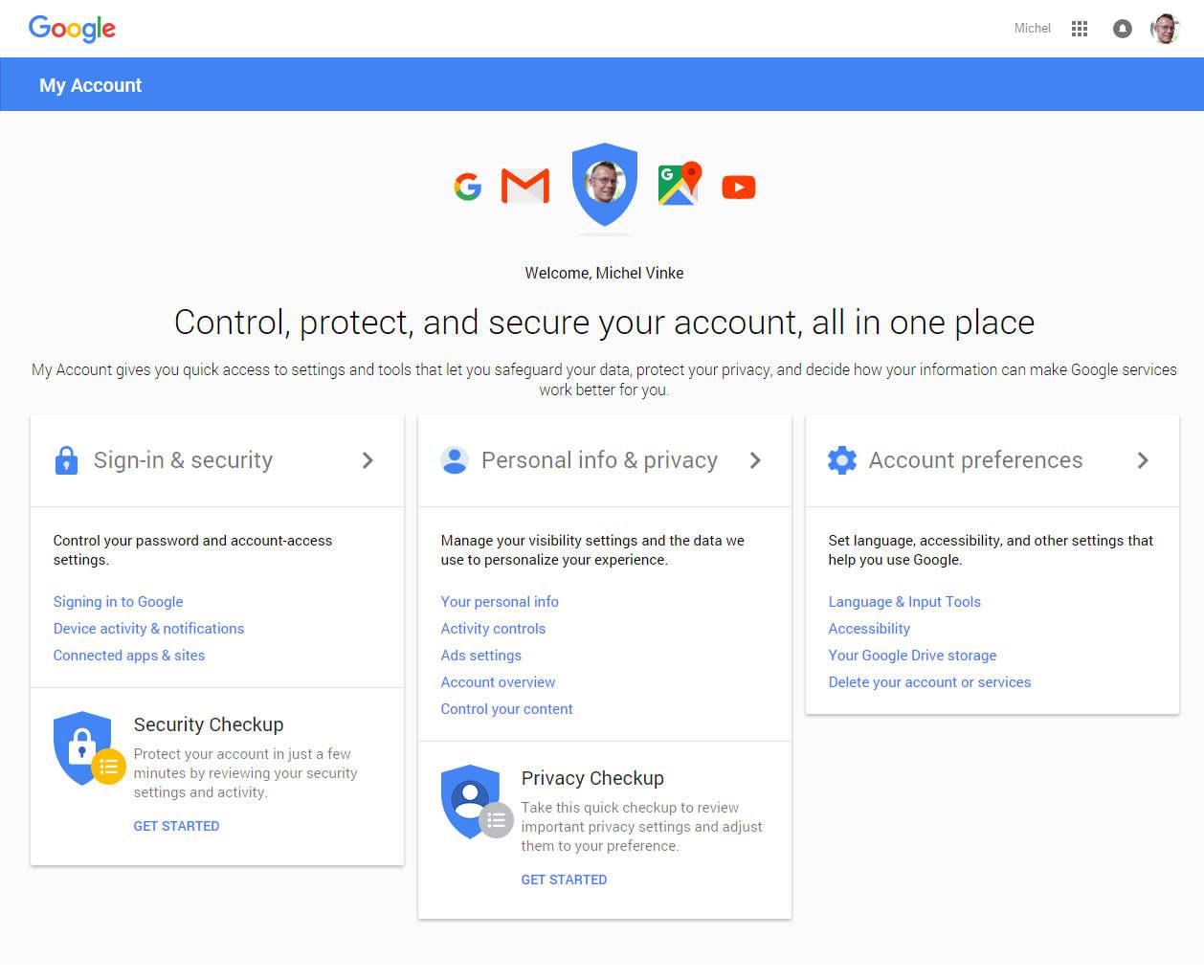 My Account scherm van Google