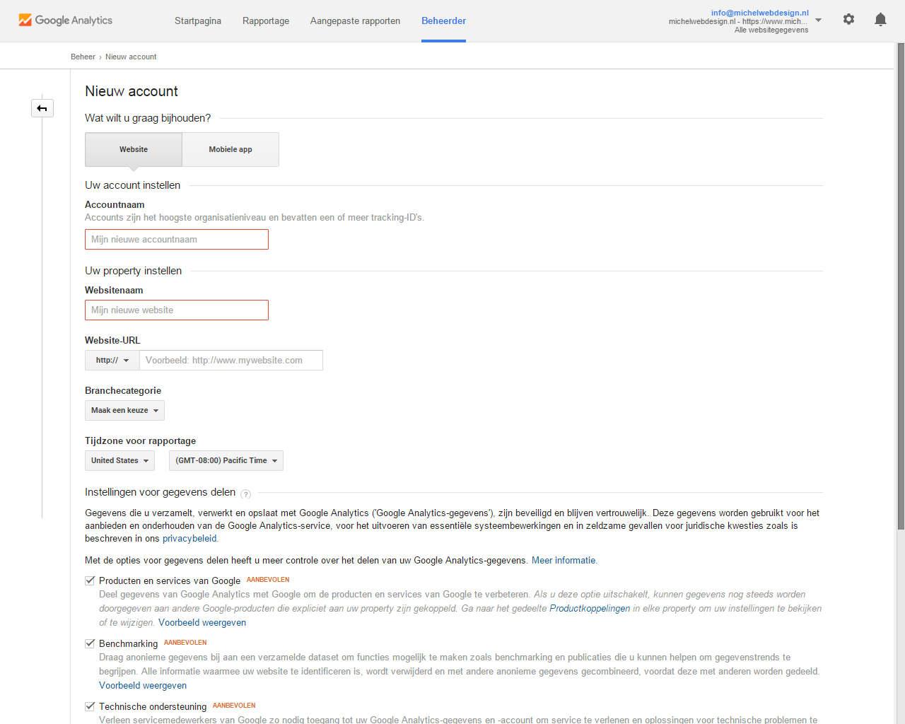 Nieuw webshop account bij google analytics aanmaken