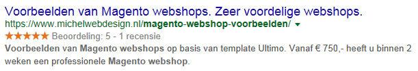 Gele beoordelingssterren in google voor mijn bedrijfswebsite michelwebdesign.nl