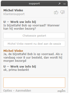 Zendesk chat voorbeeld sessie