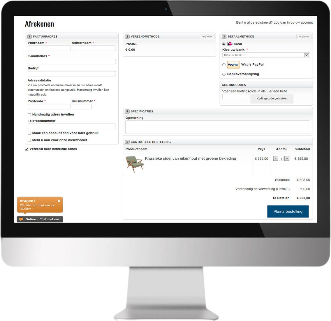 Magento One Page Checkout afrekenpagina