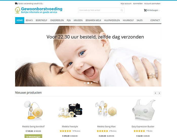 Gewoonborstvoeding Magento 2 webshops