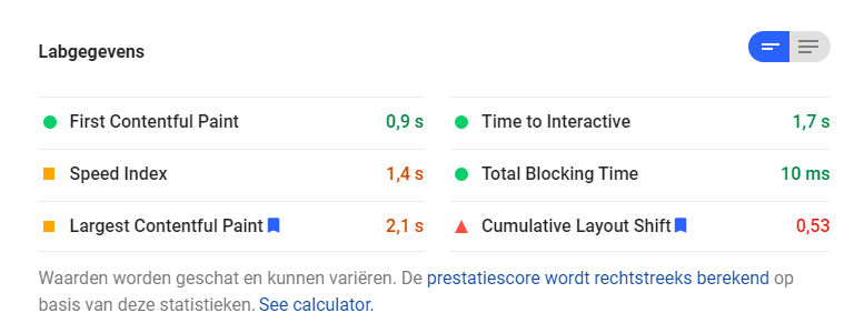 google cls score in pagespeed insights